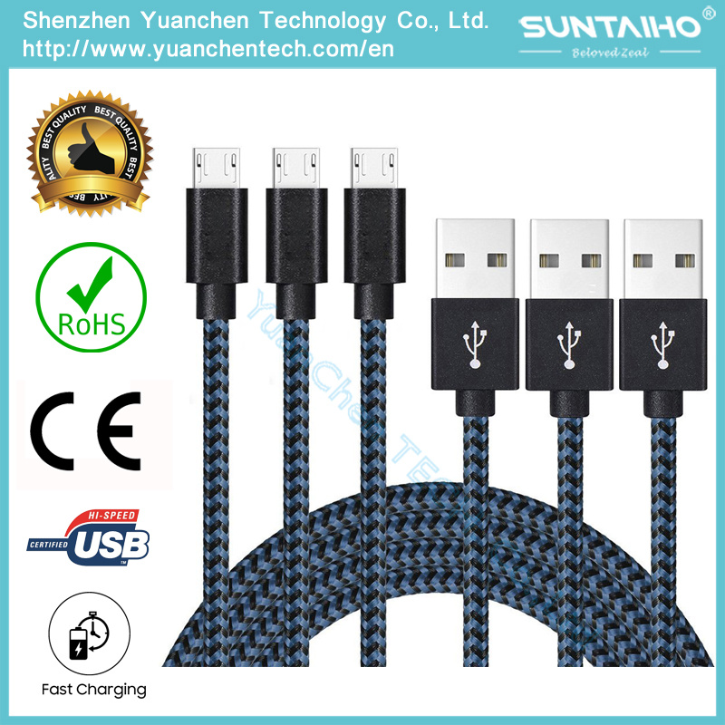 New Colorful Nylon Braided Micro USB Data Cable for Samsung etc. Cell Phones, Android