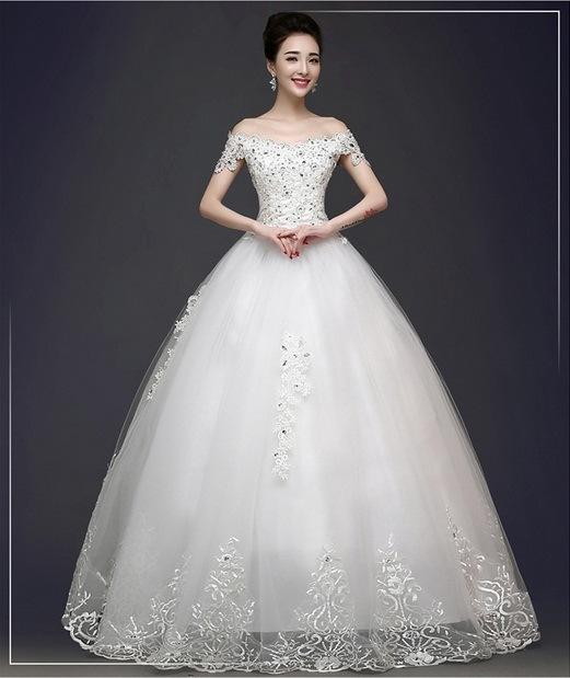 a Word Shoulderdiamondkorean Stylewedding Dress