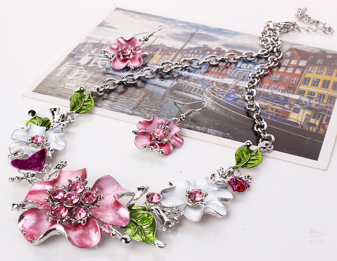 Fashion Leaves Flowers Diamond Statement Choker Necklace Earring Set Jewelry