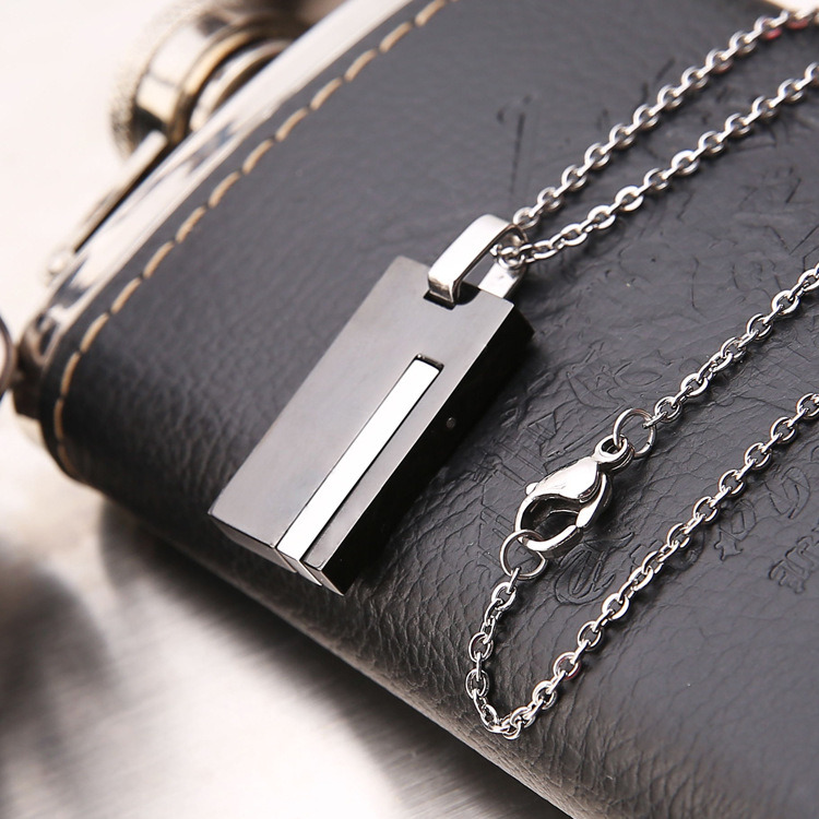 Jewelry Fashion Charm Neckalce Men Stainless Steel Square Pendant