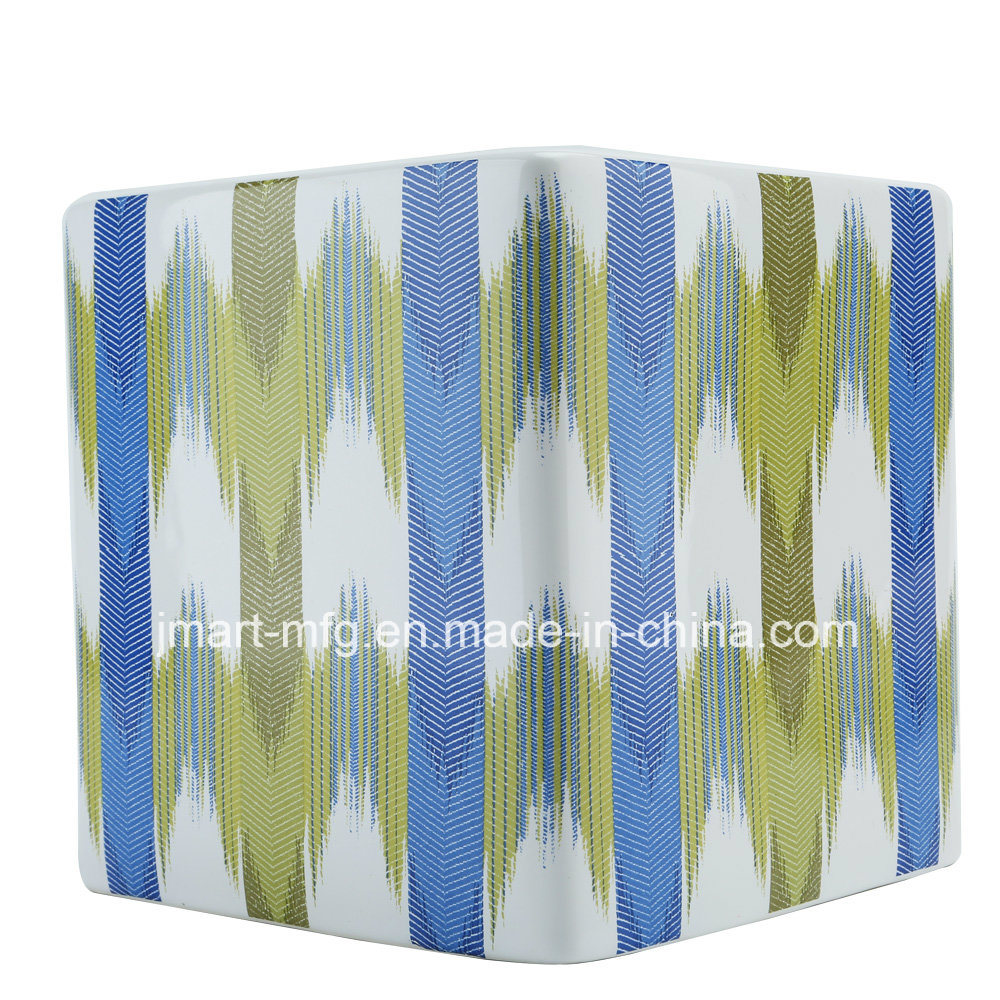 Stripe Flower Decal Ceramic Bathroom Accessory / Bath Accessory / Bathroom Set