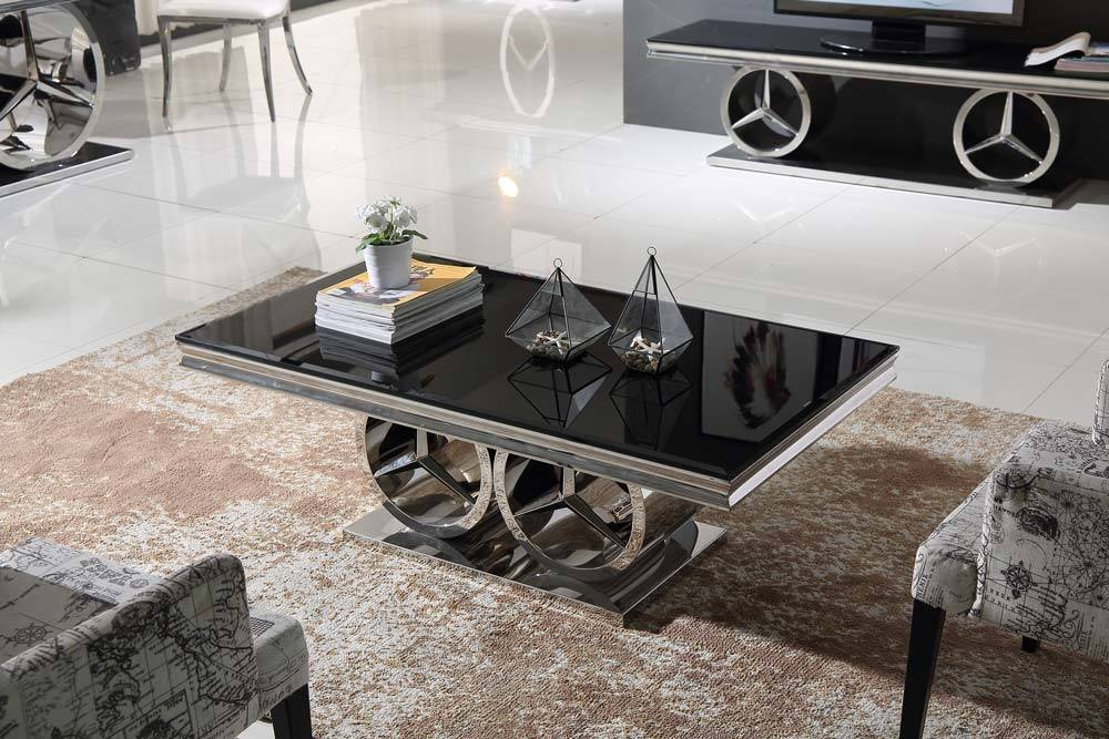 Fashionable Design Stainless Steel Black Glass Coffee Table