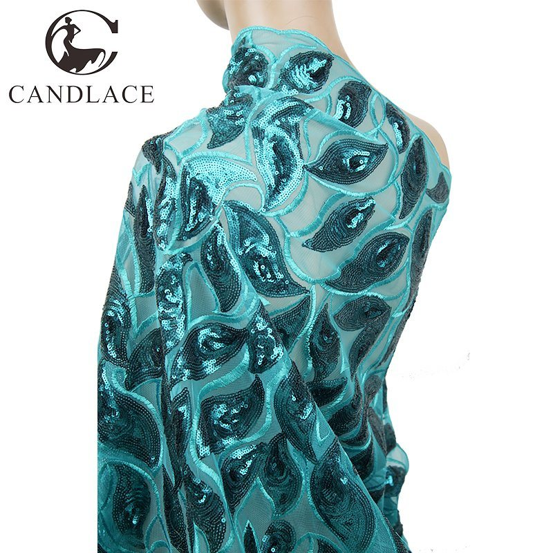 Transparent Teal Color Sequin Net Embroidery Fabric