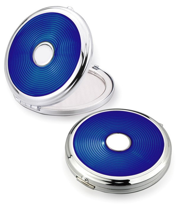 Lady′s Gift - Enamel Blue Color Compact Mirror with Silver Plated