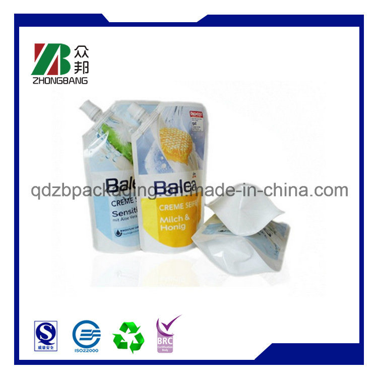 High Quality Reusable Liquid Packaging Standing Plastic Spout Pouch