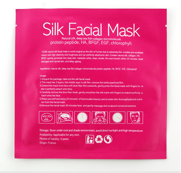 100% Natural Silk Collagen Micromolecule Face Care Silk Facial Mask