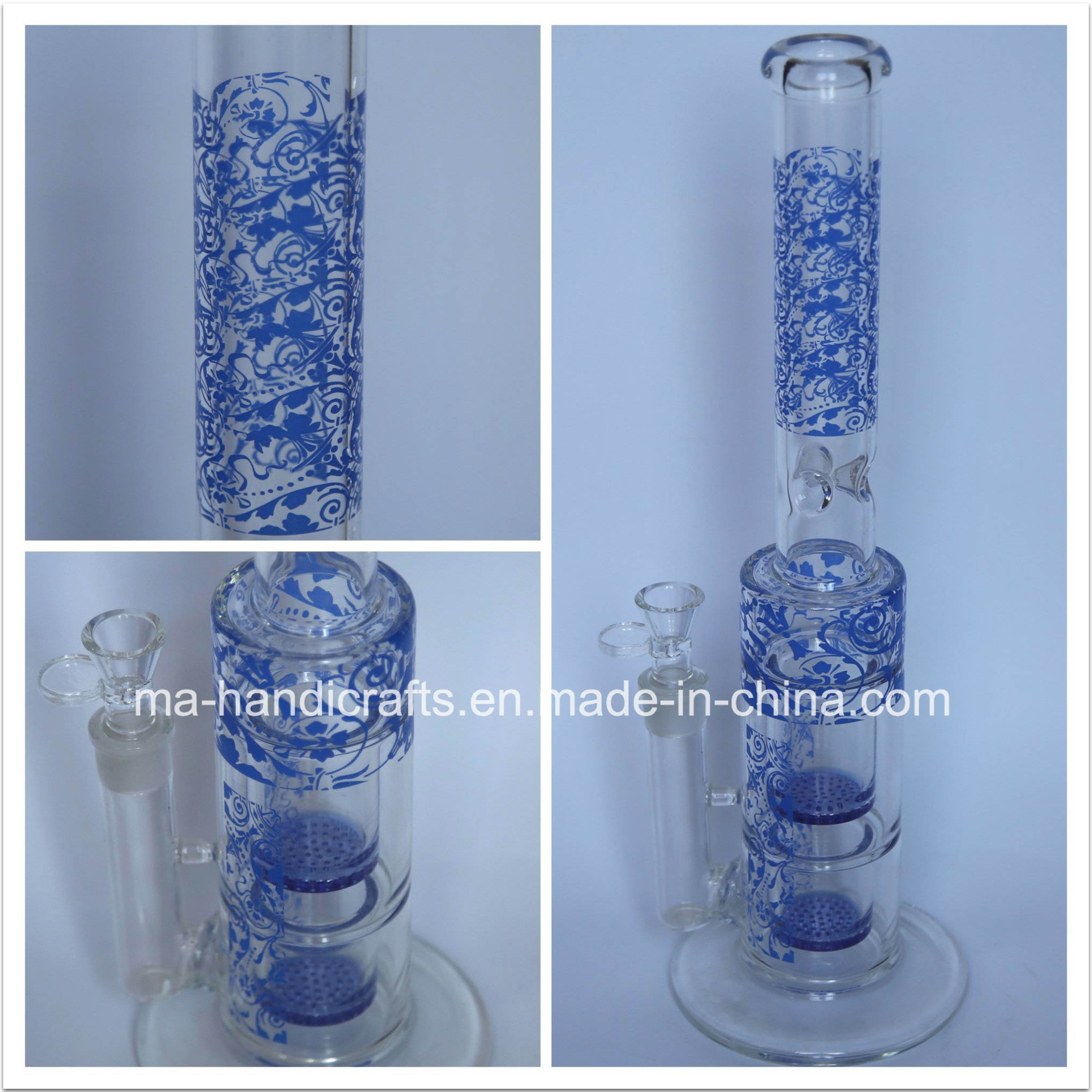 Colorful Engraved Large Smoking Pyrex Glass Water Pipes with Double Honeycomb Percolator