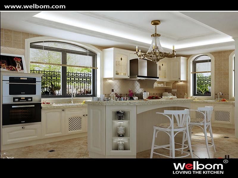 2015 Welbom Hot Sale Classic Solid Wood Kitchen Furniture