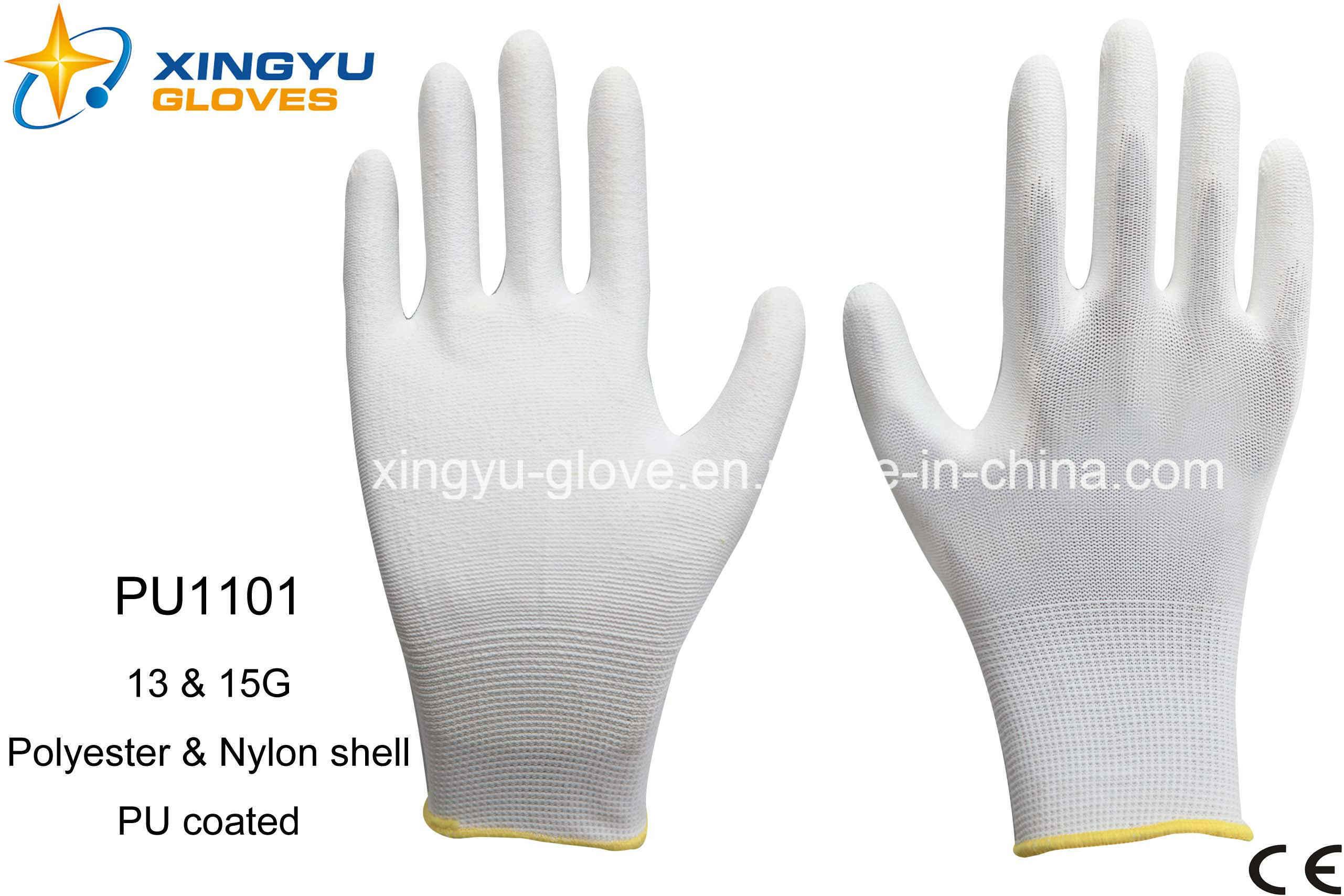 Polyester Shell PU Coated Safety Work Glove (PU1101)