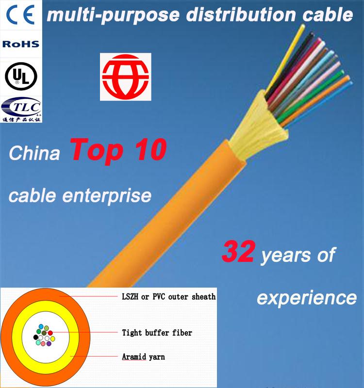 Indoor 6 Core Multi-Purpose Distribution Optical Fiber Cable