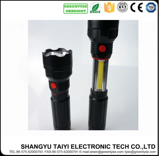 6W CREE LED Outdoor Emergency Strobe Aluminum Flashlight with Magnet