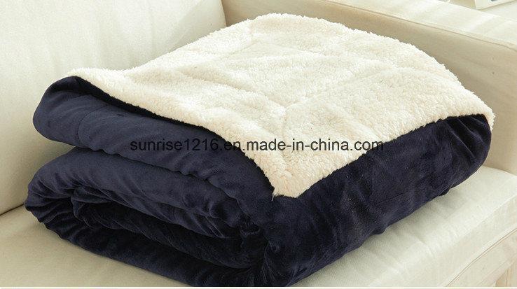 Winter Blanket Sr-B170212-33 Solid Flannel with Sherpa Blanket