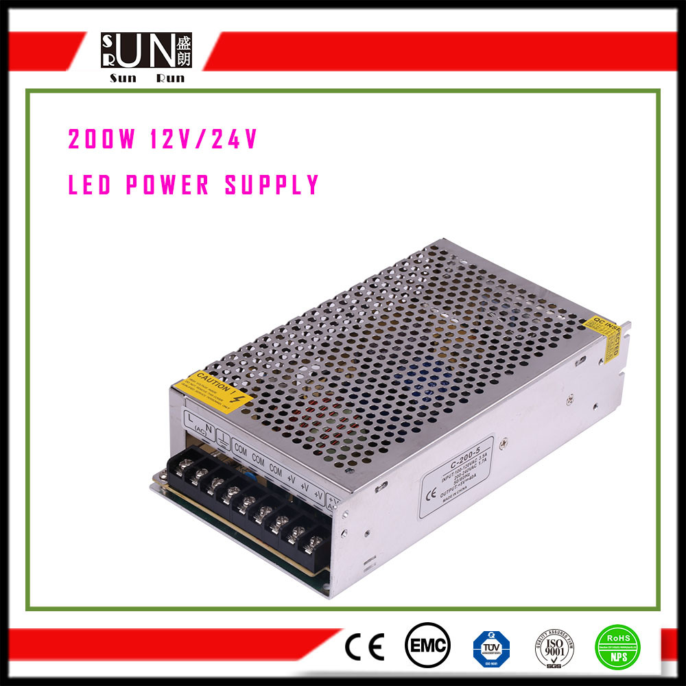 200W Power Supply, DC12V Power Supply for LED Strips Power, 12V LED Power Supply, SMPS, Switching Power Supply