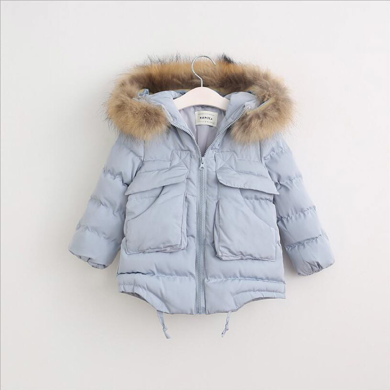 Girl Cotton-Padded Clothes with Fur Collar for Winter Coat
