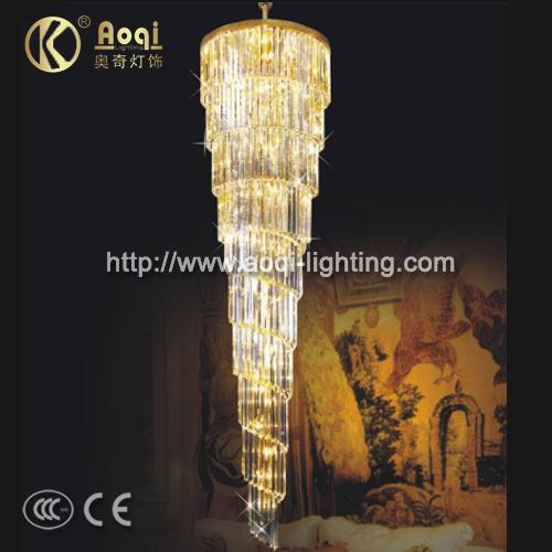 Long Golden K9 Crystal Pendant Lights (AQ7102)