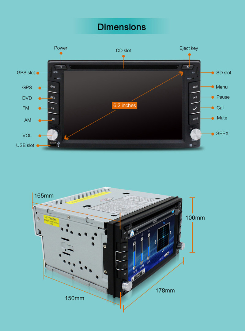 6.2inch 2 DIN in-Dash Car Video MP3 MP4 Player