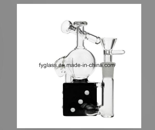 Black Leaf Stemless Glass Dice Recycler Bubbler