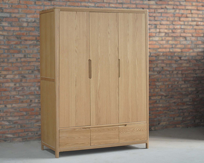 Ikea Style Oak Wood Wardrobe Solid Wood Wardrobe (M-X1091)