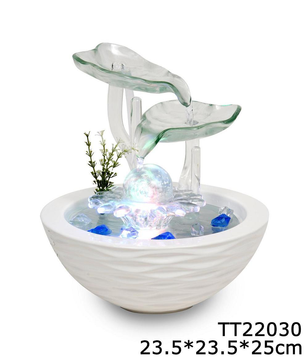 Indoor Glass & Ceramic Base Tabletop Water Fountain with ...