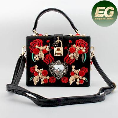 New Fancy Design Flower Embroidered Shoulder Bag Fashion Box Handbag for Women Eb847