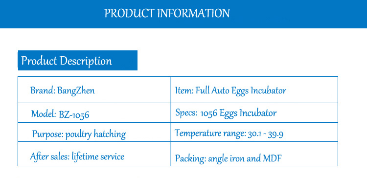 Full Automatic Digital Zambia Egg Incubator Price for 1056 Eggs