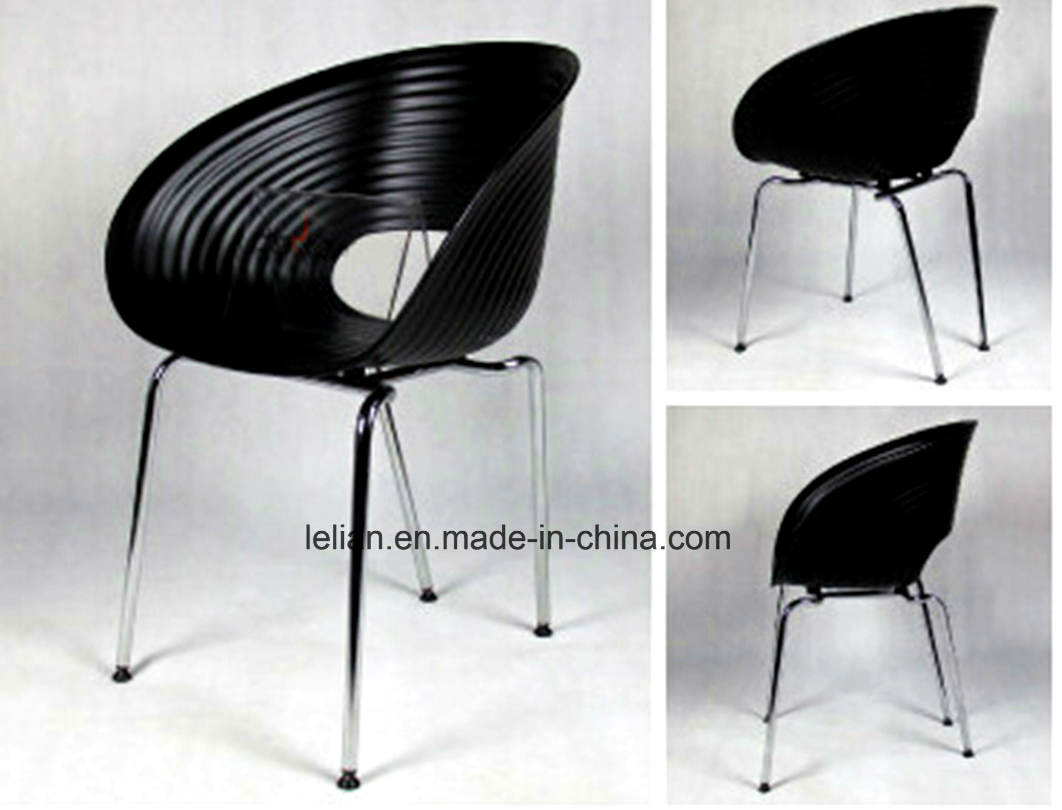 Colored Plastic Stack Eames Garden Coffee Chair with Armrest (LL-0049)