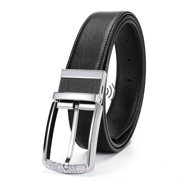 Smart Leather Belt Pin Buckle for Men Phone Anti Theft