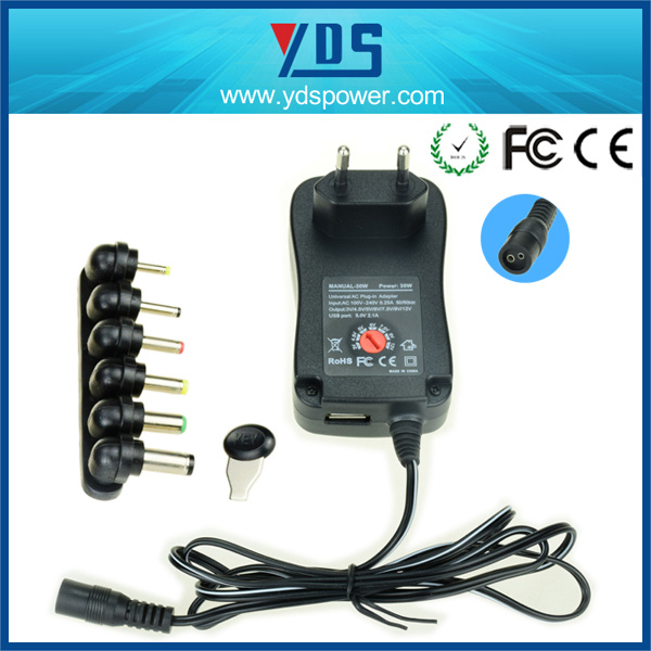 Wall Mount Universal AC DC Power Supply 30W Switching Adapter