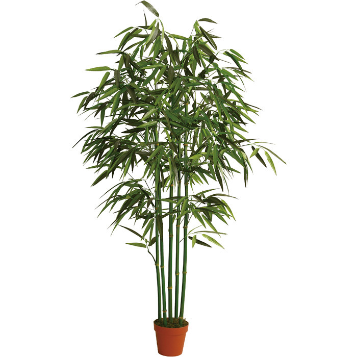 Artificial Plants of Bamboo in 150cm, with 7′′ Plastic Pot, 5 Natural Stems, 700lvs