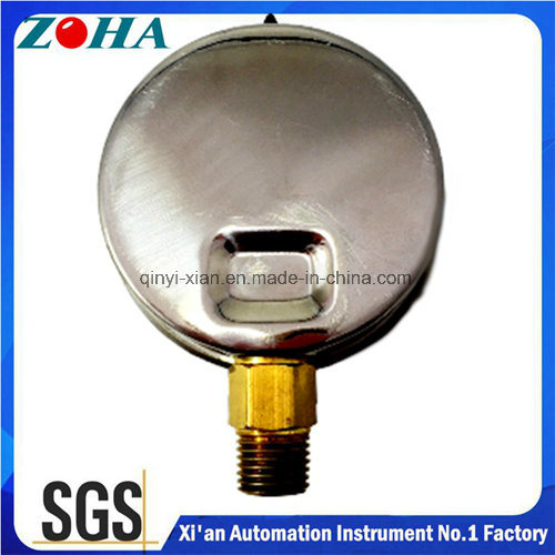 Oil Filled Vacuum Gauge with Stainless Steel Case and Brass Connector