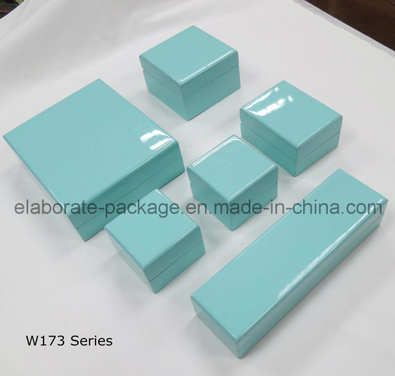 Pure Blue Exquisite Wooden Box Handmde Jewelry Storage Package Case