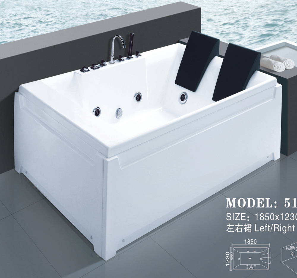 Factory Outlet Sanitary Ware Acrylic Jacuzzi Massage Bathtub (517)