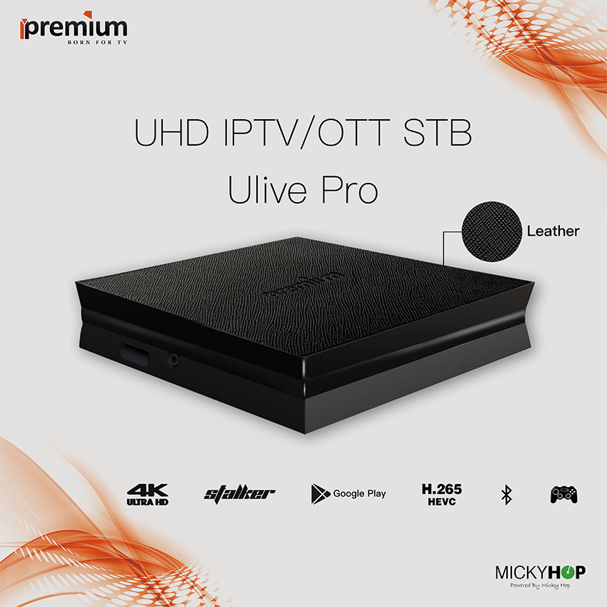 Ipremium Ulive PRO H. 265 Hevc 4k Uhd IPTV Ott Box with Stalker Middleware and Bluetooth 4.0 Built-in