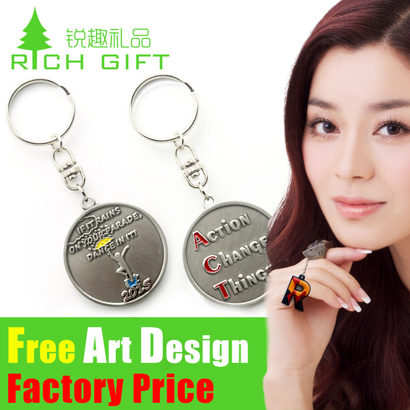 Promotional Metal/PVC Trolley Coin Keychain with Logo Custom