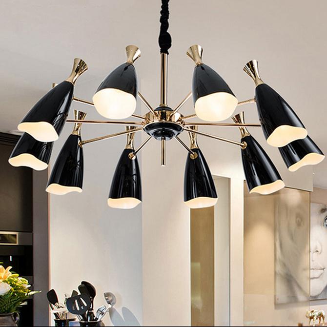 Modern Black Living Room Pendant Lamp Chandelier Lighting in 10-Lights