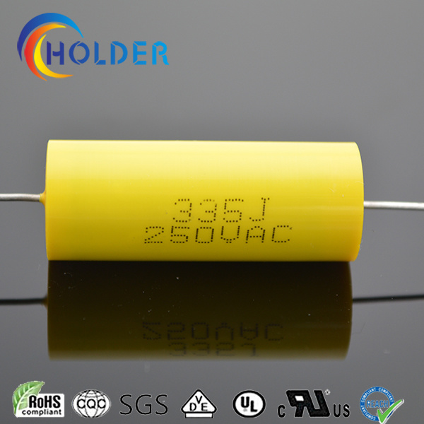 Metallized Polypropylene Capacitor (Cbb20 335j 250VAC) with Copper Wire for Running Axial Yellow Capacitor All Series of Cbb20