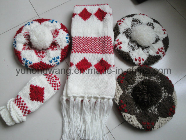 Hot Selling Lady Winter Warm Knitted Acrylic Set