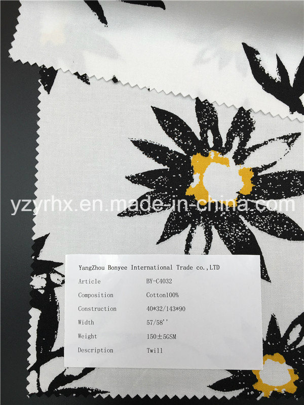Finished Fabric 100% Cotton Twill Printed White Ground with Flower