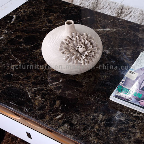 Luxury Black Marble Rose Golden Stainless Steel Coffee Table with Drawer