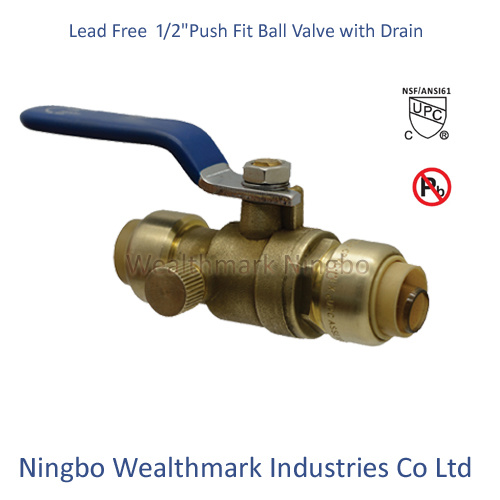 """Lead Free Brass 1/2"""" Push Fit Ball Valve with Drain"""