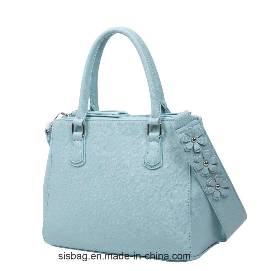 Designer Pure Color PU Handbag with Flower Shoulder Strap