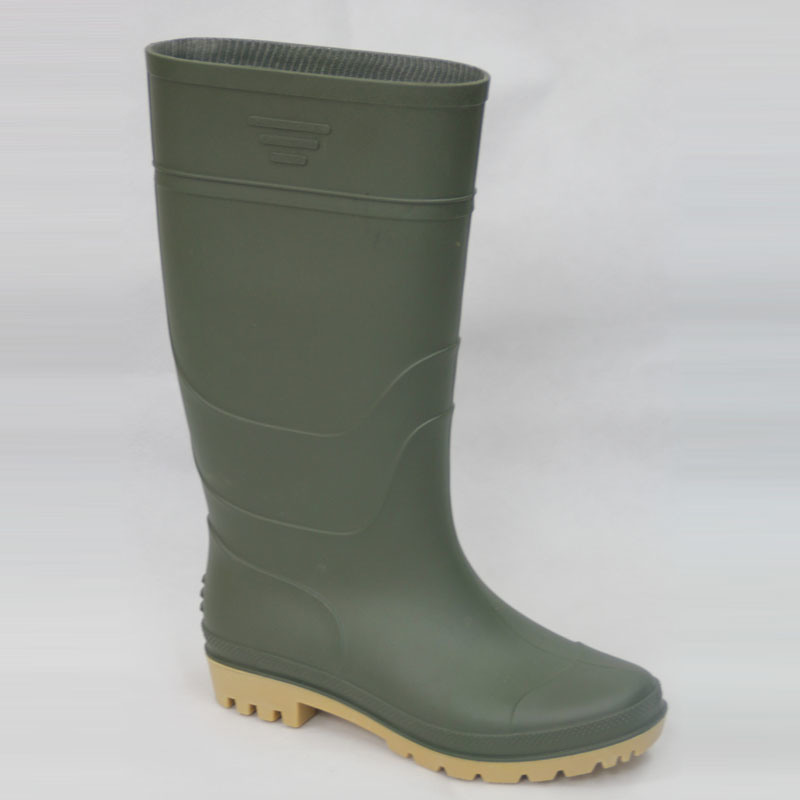 PVC Rain Boots (Green upper/Yellow Sole) . Work Shoes