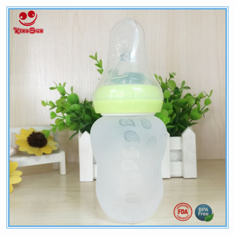 6 Ounce Wide Neck Silicone Baby Feeding Bottle with Spoon