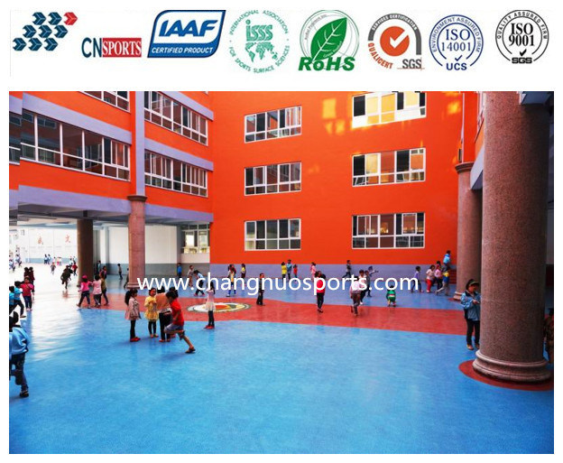 High Quality Decorative Spray Polyurea Elastic Flooring, Embossed Floor