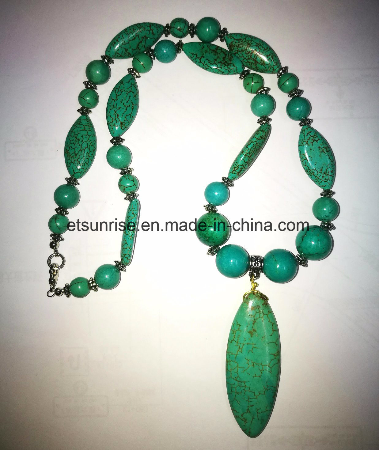 Fashion Semi Precious Stone Natural Turquoise Crystal Beaded Necklace Jewelry