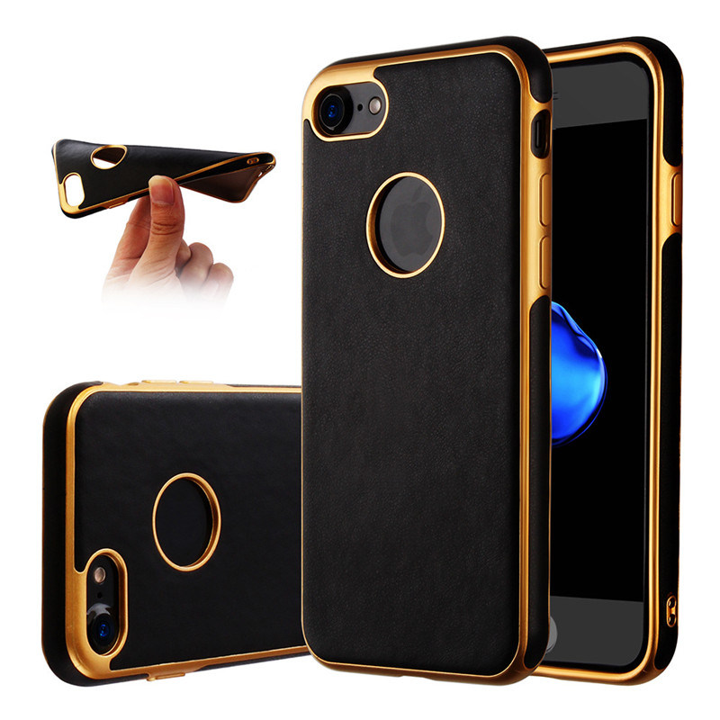 Soft TPU Phone Case for iPhone 6 6splus 7 7plus TPU Metal Oil Case for Samsung Galaxy J5 J7 Leather Case (XSDD-085)