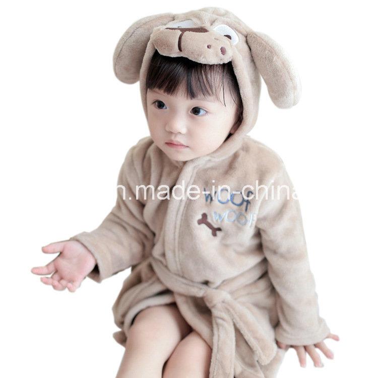 Animal Head Flannel Nightgown Bathrobe Children Leisurewear
