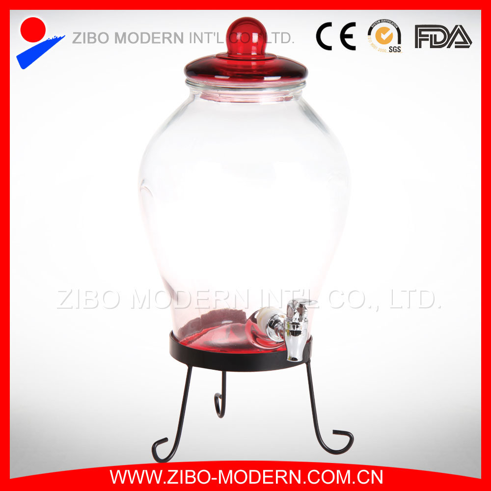 High Quality Clear Glass Beverage Dispenser with Tap