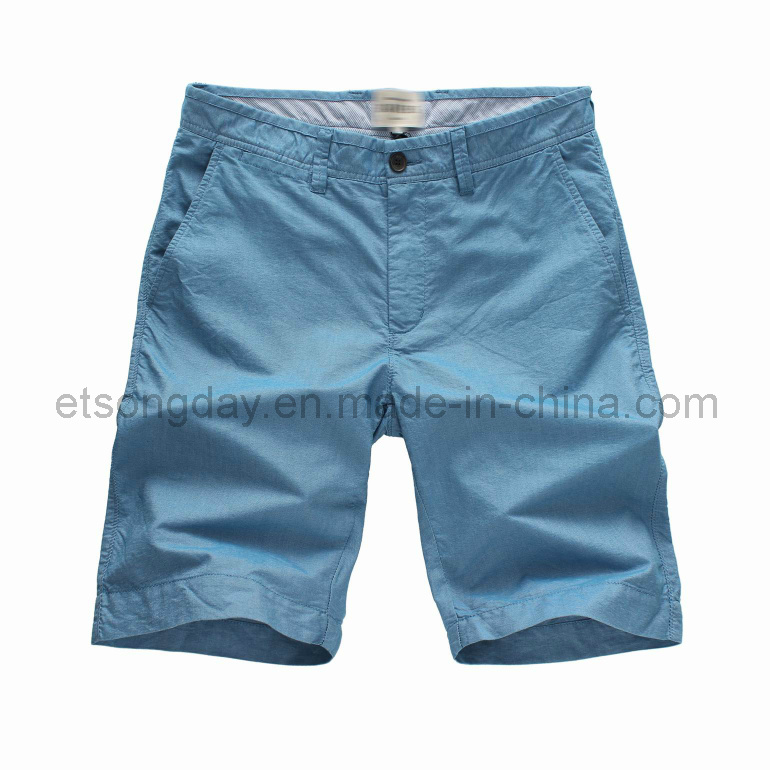 Light Blue Hight Quantity 100% Cotton Men′s Shorts (BS14-0355)