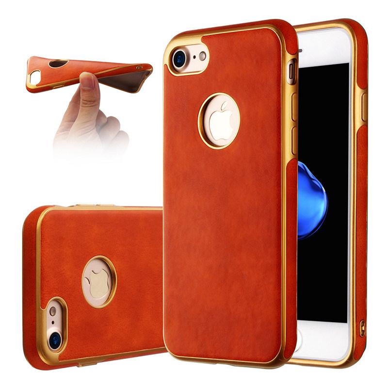 Soft TPU Phone Case for iPhone 6 6splus 7 7plus TPU Metal Oil Case for Samsung Galaxy J5 J7 Leather Case (XSDD-085)